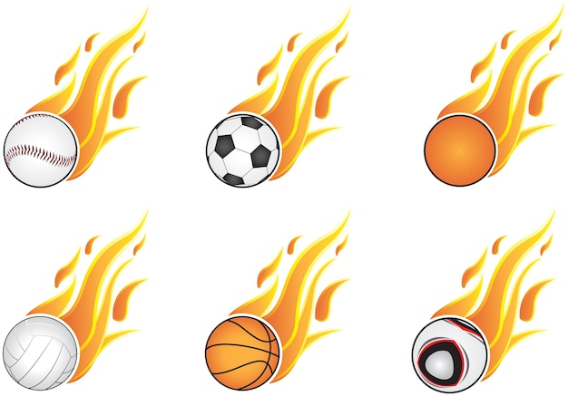 Six types of sports and open flame
