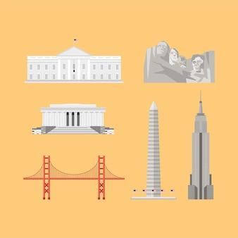 Six usa set monuments landmarks