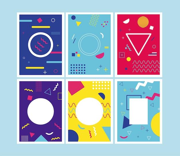 Шесть ярких фонов в стиле мемфис