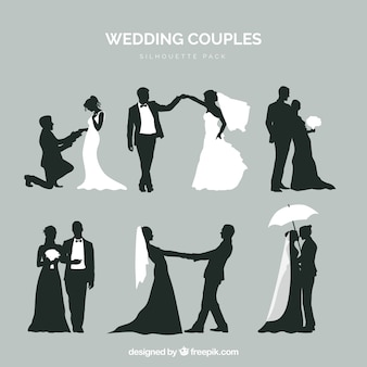 Six wedding couples in silhouette