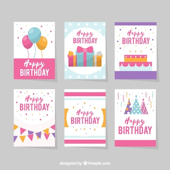 Six white birthday cards in flat design