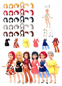 Six woman characters with different dresses and hairstyles