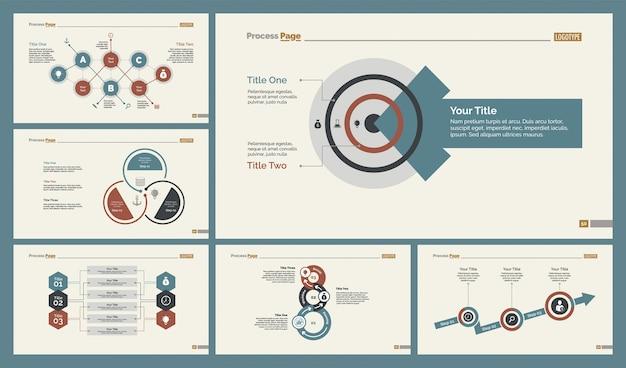 Set di modelli di diapositive di sei diagrammi di flusso di lavoro