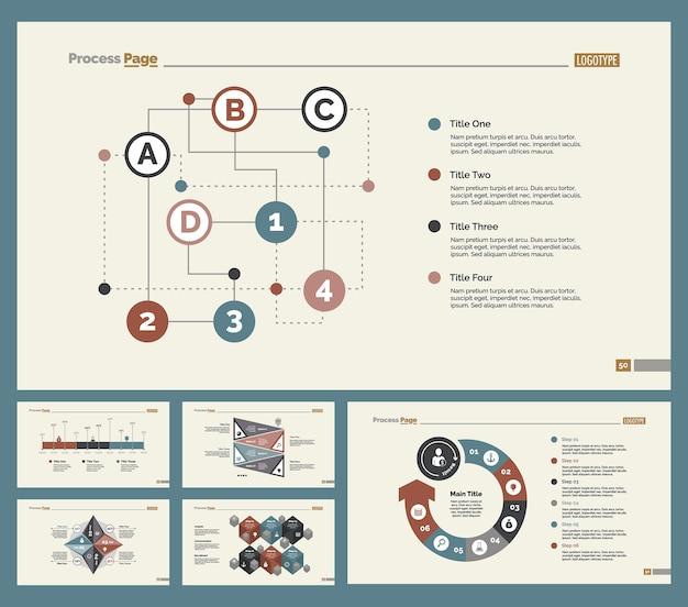 Six workflow slide templates set