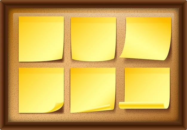 보드에 6 개의 노란 노트