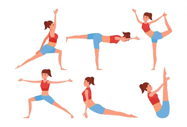 Шесть поз йоги установлены. улыбающаяся девушка персонаж делает упражнения.