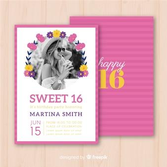 Sixteen birthday flower circle invitation template