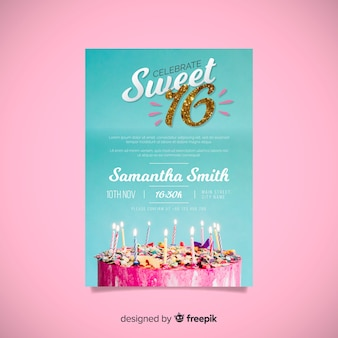 Sixteen birthday glitter number invitation template