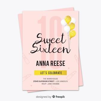 Sixteen birthday golden balloons card