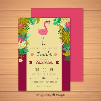 Sixteen birthday tropical invitation template