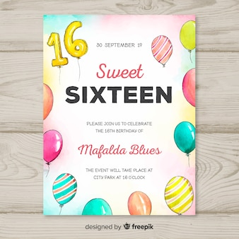 Sixteen birthday watercolor balloons template