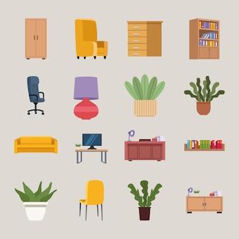 Шестнадцать офисных иконок мебели