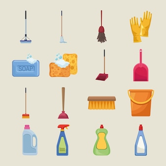 Sixteen housekeeping chores icons