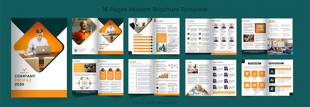 Sixteen pages company profile annual brochure template