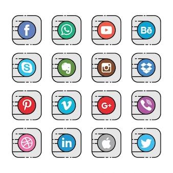 Sixteen social media icons