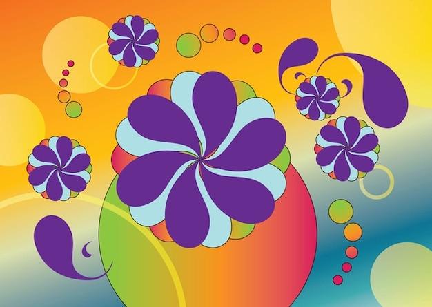 Sixties flowers vectors