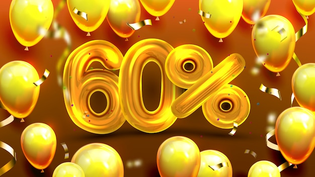 Sixty percent or 60 marketing sale offer