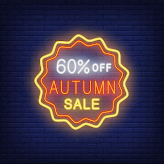 Sixty percent off neon icon