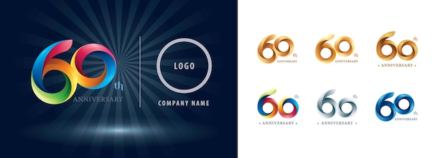 Sixty years celebration anniversary logo, origami stylized number letters, twist ribbons logo