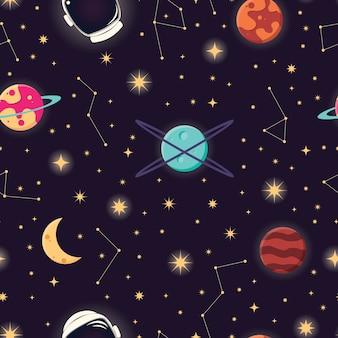 宇宙惑星、星、宇宙飛行士のヘルメットシームレスパターン、コスモス星空の夜のsk