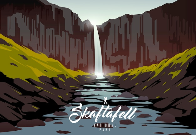 Skaftafell national park. nature of iceland. svartifoss waterfall.