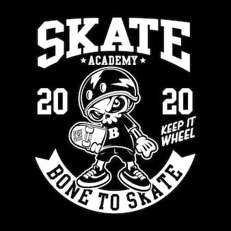 Skate academy with skull cartoon character