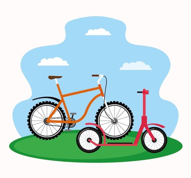 スケートと自転車
