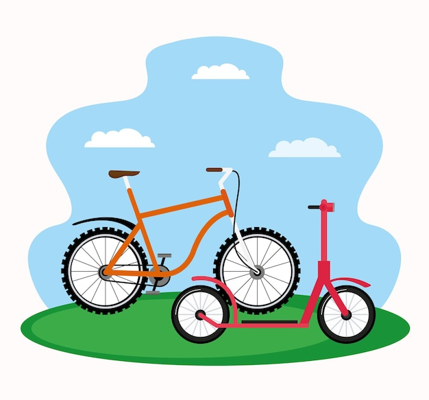 Skate and bicycle