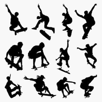 Skate board 2 silhouettes