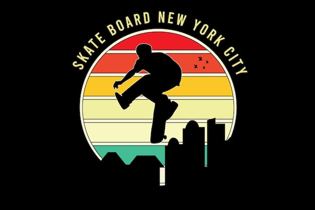 Skate board new york city color orange yellow and green