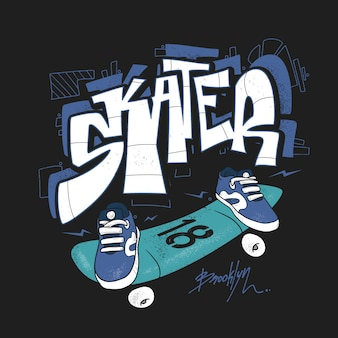 Skate board typography, urban t-shirt graphics, s.