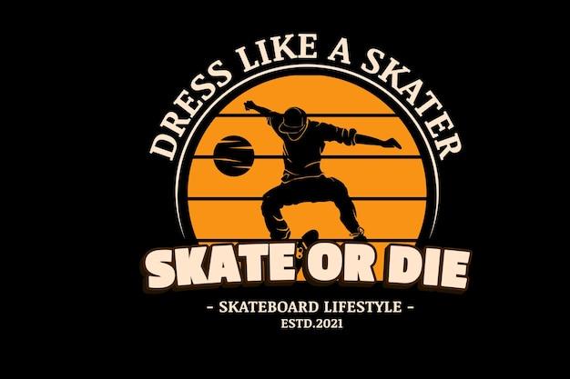 スケートまたはダイスケートボードのライフスタイルカラーオレンジとクリーム