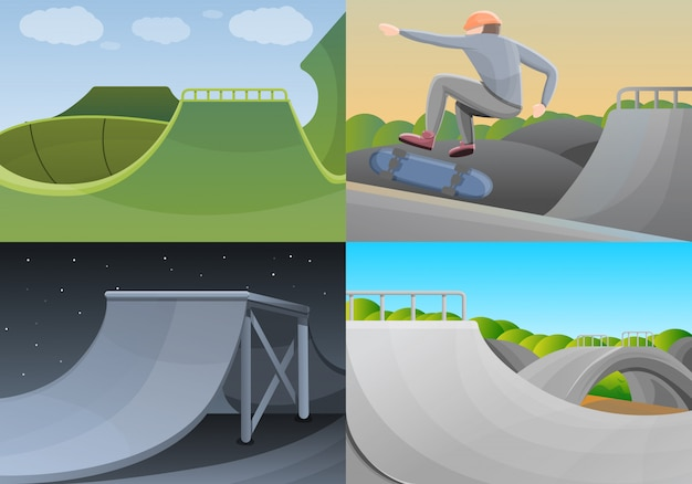 Skate park banner set, cartoon style