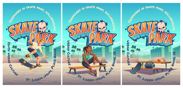 Skate park poster with boy riding on skateboard on rollerdrome. cartoon cityscape with ramps and teenager jump on track playground for extreme sport activity.