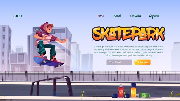Skate park website with boy riding on skateboard on rollerdrome