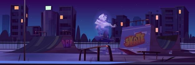 Скейт-парк с мальчиком-призраком, катающимся на скейтборде ночью. мультяшный городской пейзаж с пандусами и граффити на стенах.