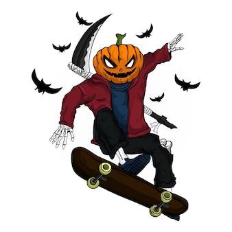 Skate pumpkin ilustration design for tshirt