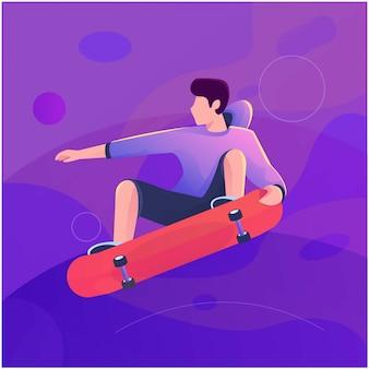 Skate sport flat illustration fly