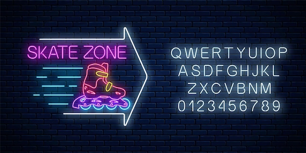 Skate zone glowing neon sign with guide arrow and alphabet. roller skates rental symbol in neon style.