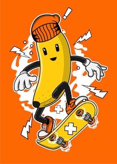 Skateboard banana cartoon