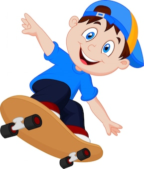 Счастливый мультфильм skateboard boy