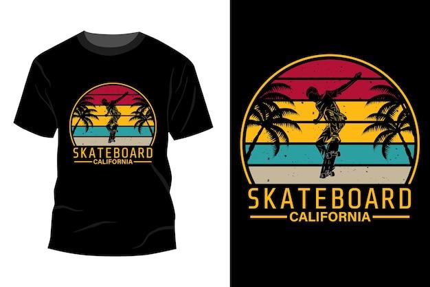 スケートボードカリフォルニアtシャツモックアップデザインヴィンテージレトロ
