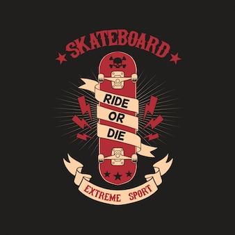Skateboard club badge illustration