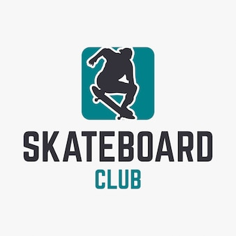 Skateboard club logo template with silhouette