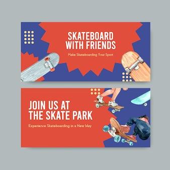 Skateboard design concept banner acquerello illustrazione vettoriale.