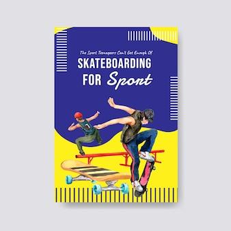 Illustrazione di vettore di concetto di design skateboard.