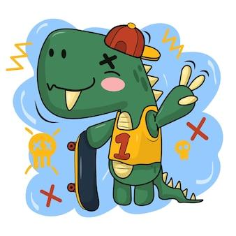 Скейтборд динозавр городская футболка иллюстрация