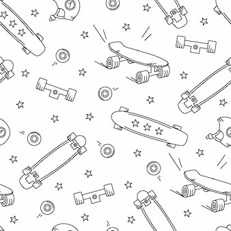 スケートボード落書きシームレスパターン。星、ホイール、ロングボードのベクトルの背景。
