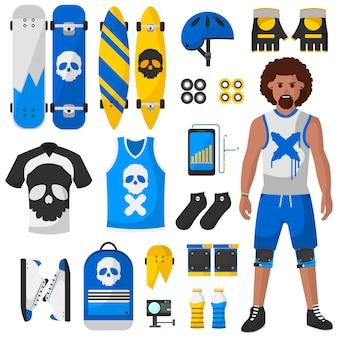 Skateboard equipment vector set illustration