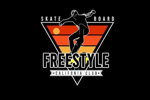 Skateboard freestyle california club color yellow green and orange